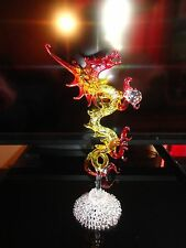 Standing Dragon Yellow Red Figurine of Blown Glass Crystal