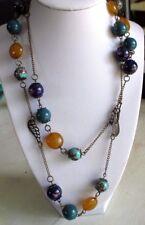 Beau collier sautoir bijou vintage perle porcelaine peinte et résine bonobo 657