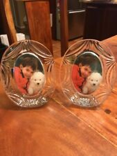 RCR Royal Crystal Rock Crystal set of two picture frames Round Oval (JL)