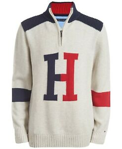 NWT Tommy Hilfiger Boys Keith Colorblocked 1/4 Zip Logo Pullover Sweater 4