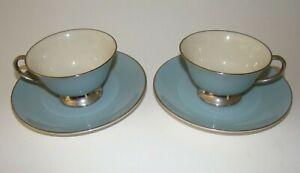 Flintridge China Platinum Strata Blue (Rim), Footed Cup and Saucer California