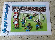 """Handmade Birthday card 3D decoupage humourous male football footballer 7"""" x 5"""""""