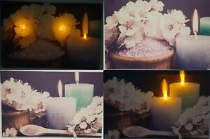 Large Light Up LED Canvas 40cmx60cm Candle Floral Relaxing Calming Spa Wall Art