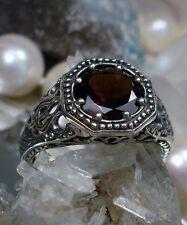 Natural 1.62ct Red Garnet Sterling Silver Victorian Design Filigree Ring Size 8