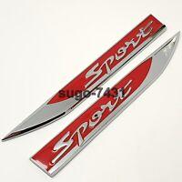 2Pcs Car Zinc Alloy Sport Fender Door Side Sticker Badge Emblem Gift For Him Her