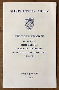 1981 Order of Service of Thanksgiving for the life of Sir Claude Auchinleck