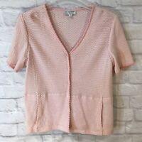ST. JOHN SPORT By MARIE GRAY Pink & White Cardigan Sweater Medium Short Sleeve
