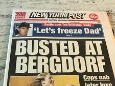 """TED WILLIAMS-DEATH--N.Y. POST=7/9/2002=""""""""LET'S FREEZE DAD""""'  MORBID STORY PAPER"""