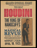 Harry Houdini 1905 Poster Reprint On Genuine 100 Year Old Paper *P005