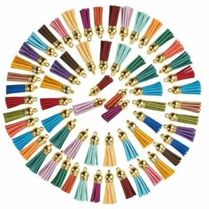 "100-Piece Multi-Color Faux Leather Suede Tassel Charm 1.5"" Keychain w/ Gold Cap"