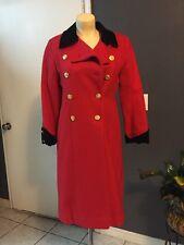 Vtg 60s ROTHSCHILD Wool Overcoat * RED w Black Velvet * Swing Coat Jacket USA 10