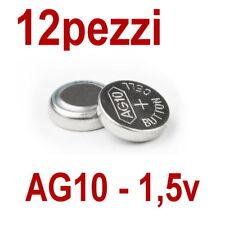 12 PILE AG10 LR1130 LR1131 LR54 1,5V BOTTONE PILA OROLOGIO (non 10)