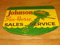 "VINTAGE JOHNSON SEA HORSE OUTBOARD BOAT MOTORS 10"" PORCELAIN GASOLINE & OIL SIGN"