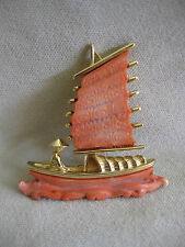 HATTIE CARNEGIE Vintage Goldtone Faux Coral Chinese Junk Boat Pin Brooch