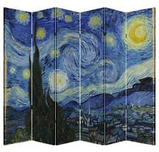 6 Panel Folding Screen Canvas Privacy Partition Divider- Starry Night