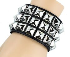 Silver Pyramid Stud Leather Punk Goth Club Rockabilly Bracelet