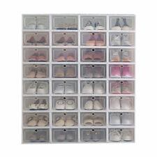 12 pack Foldable Shoe Box Storage Plastic Transparent Case Stackable Organize