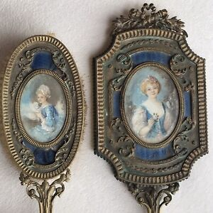 Antique French Mirror And Brush With H/Painted Portrait Miniatures