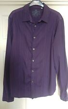 Guess mens cotton slim fit purple shirt with back print size large