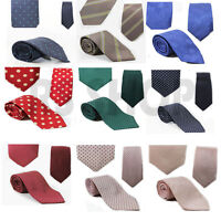 Mens Womens Silk Ties Solid Plain Stripes Polka Unisex Wedding School Funeral