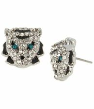 Betsey Johnson Rhinestones Crystals Earrings Stud Tiger Big Cats Green Black NEW