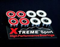 16 Pack Xtreme 608 RS ABEC 11 RED / WHITE  HIGH PERFORMANCE BEARINGS SKATEBOARD