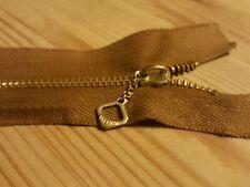 1 × 7'' inch Brown Talon vintage style (Repro) brass Zip-Zipper