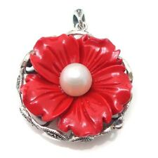 Red-White Flower Swirl Butterfly Marcasite .925 Silver Pendant