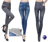 Women Denim Jeans look Warm Plush Velvet Fleece Slim Leggings Jeggings Pants
