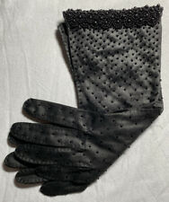 New Vintage Womens Double Woven Black Beaded Gloves Size 7.5