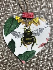 SHABBY CHIC Decoupage Wooden Heart 8cm Bumble Bee Gift Home Tag