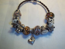 Beach LAMPWORK Murano European BROWN Glass Bead COW Heart CHARM Bracelet N-16