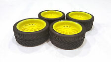 4x Wheels Assembled Tires Rims for 1/10 ON-ROAD yellow 12mm hex SHIPS FROM USA