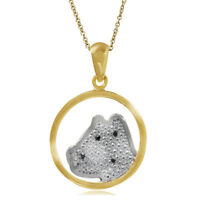"Black Diamond 14K GP 925 Sterling Silver DOG in Circle Pendant w/ 18"" Necklace"