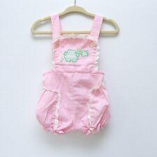 Vintage baby girl pink seersucker pinafore froggie romper w/pearl buttons 3-6m