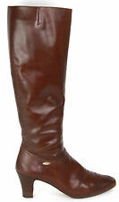 Vintage  SALVATORE FERRAGAMO Knee High Cognac Brown Leather Boots, Size 9 1/2 S
