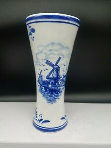 "Delft Blue Pottery 6"" Table Vase Signed Blue & White"