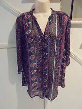 LADIES ROCKMANS NWOT SIZE 12 NAVY BLUE RED PATTERN BLOUSE  'PERFECT'