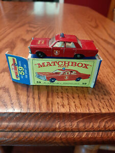 Vintage 1960's Matchbox Lesney Ford Fire Galaxie Chief Car #59 with Box England
