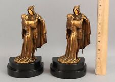 Antique Shakespeare's Romeo & Juliet Gilded Bronzed Spelter Metal Bookends