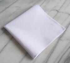 Cotton Mens Pocket Square- 100% Cotton Solid White Cotton Pocket Square
