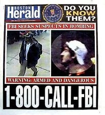 Boston Marathon Bombings Newspaper Boston Herald 4/19/2013 FBI Bomber Terrorists