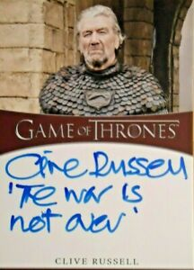 Game of Thrones Season 8 Clive Russell Inscription Autograph The War is Not Over