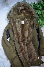 ZARA Winter Jacke Parka ✿ Mantel  mit Fell gefüttert Kapuze, Leder Khaki