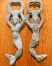 Cast Iron MERMAID Bottle openers, Sea Blue Nautical opener Beer / Soda Opener
