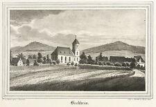 BISCHHEIM (HASELBACHTAL) - Gesamtansicht - Kirchen-Galerie - Lithografie 1840