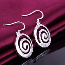 Women 925 Sterling Silver Filled Spiral Pendant Crystal Dangle Earrings Stunning