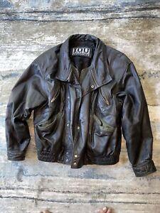 Black Leather Jacket Motorcycle Bomber Style  Large