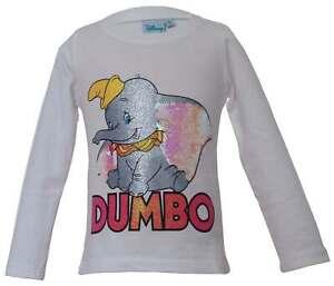 Disney Dumbo Langarmshirt mit Pailletten - weiß - Gr. 98 - 128