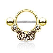14G Nipple Shield Ring Goldtone Barbell Floral Filigree Nipple Bar Ring Jewlery